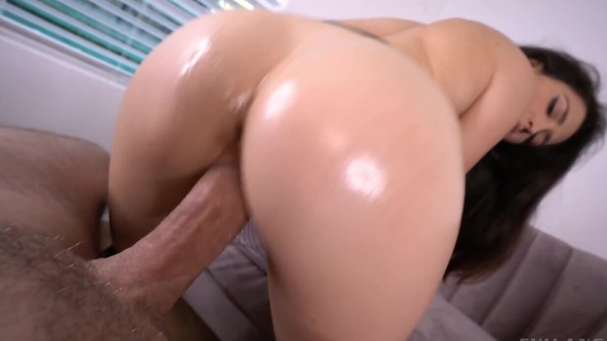 Brunette minx in fishnet stockings sucks and rides thick ...