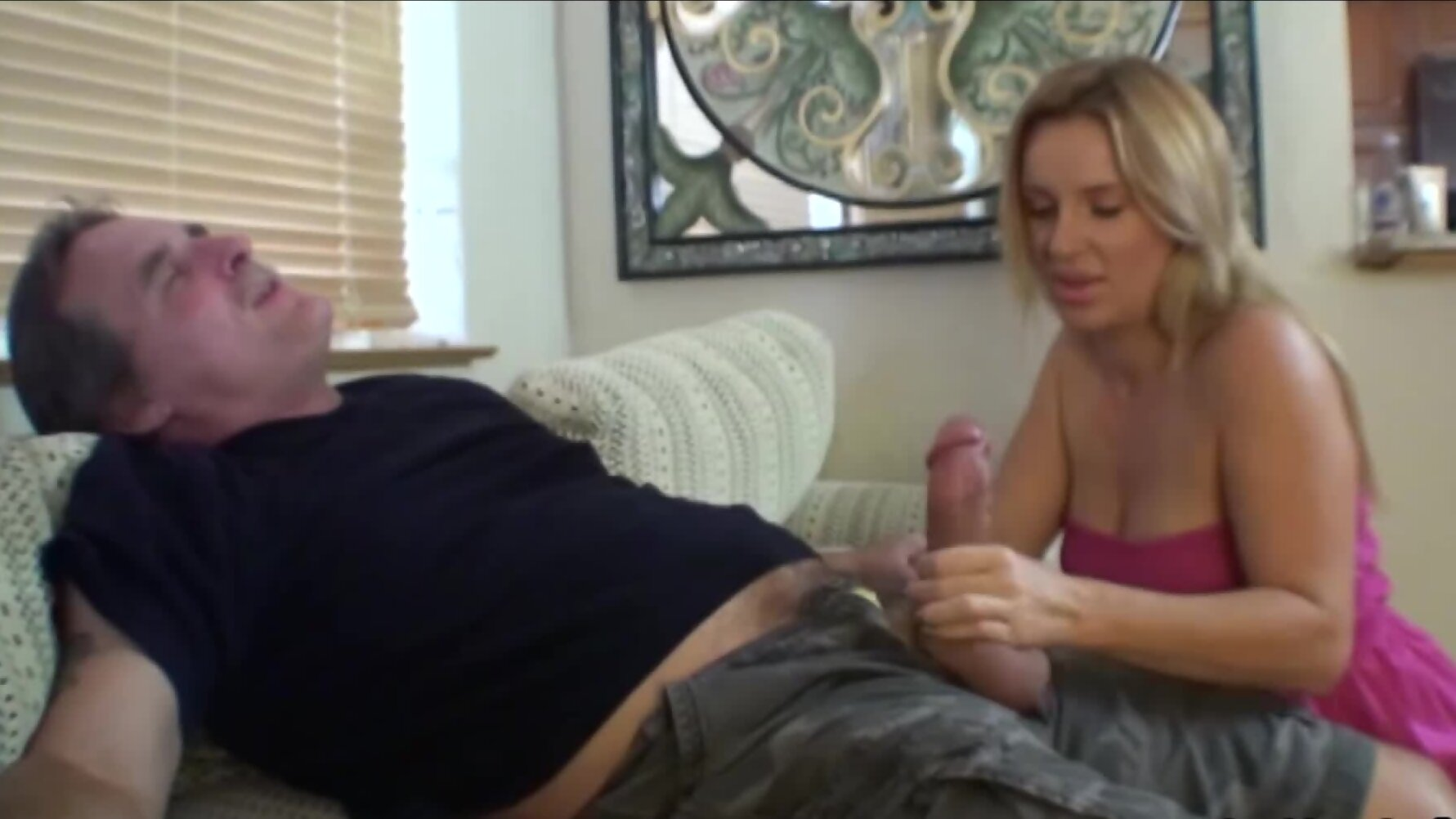 Mustached man receives a blowjob by stepdaughter and his ...