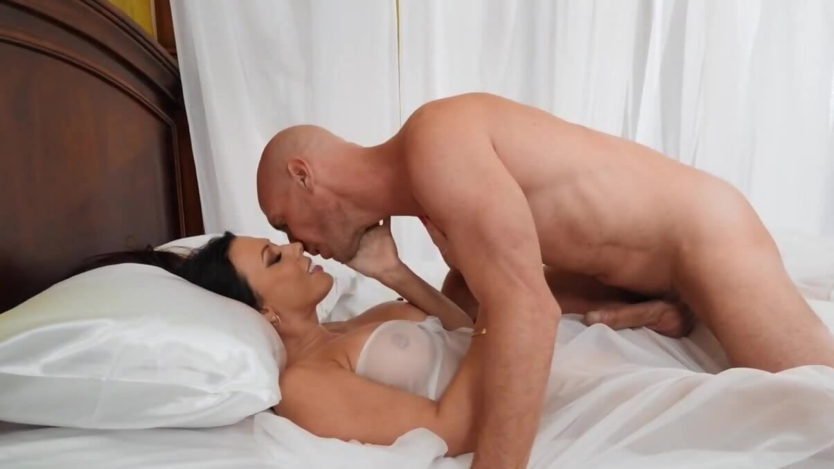 Big-boobied diva dreams about sex with a bald porn performer