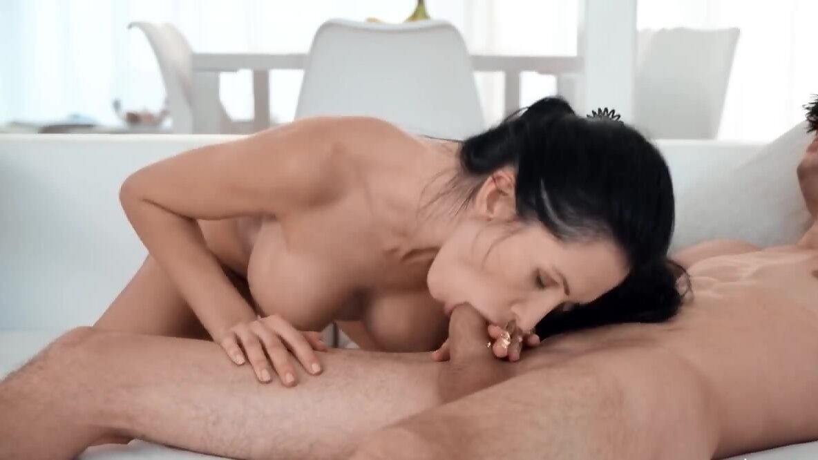 Taboo fuck of the brunette with enhanced boobs and stepson