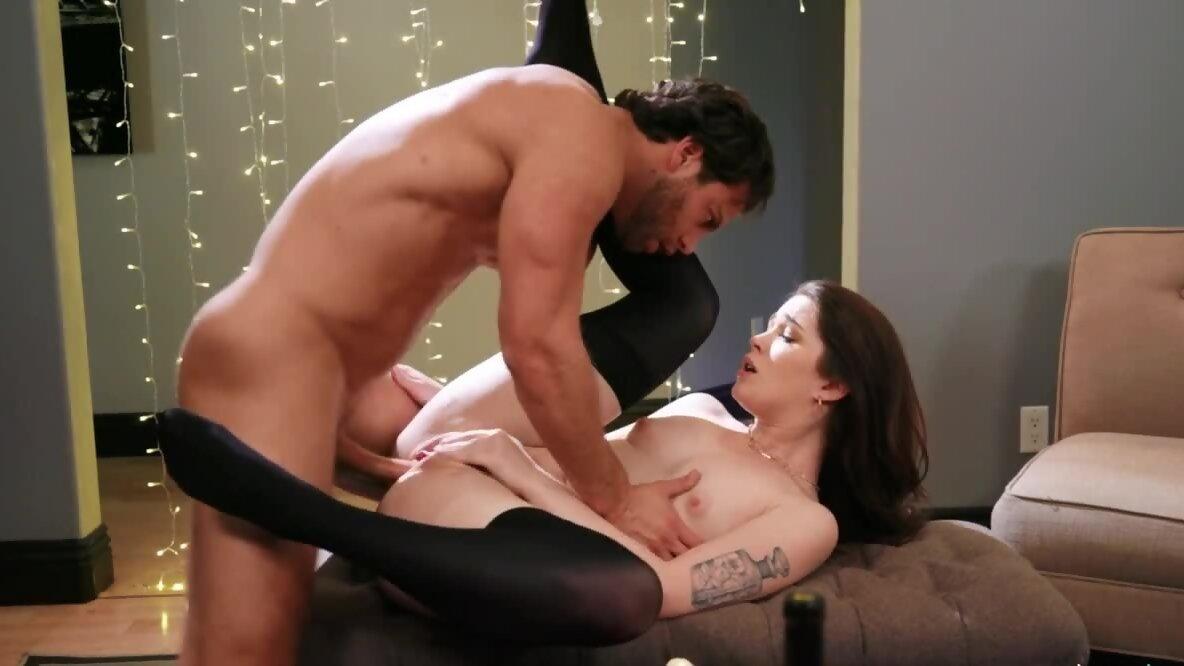 Slender brunette in stockings has romantic sex with boyfr...