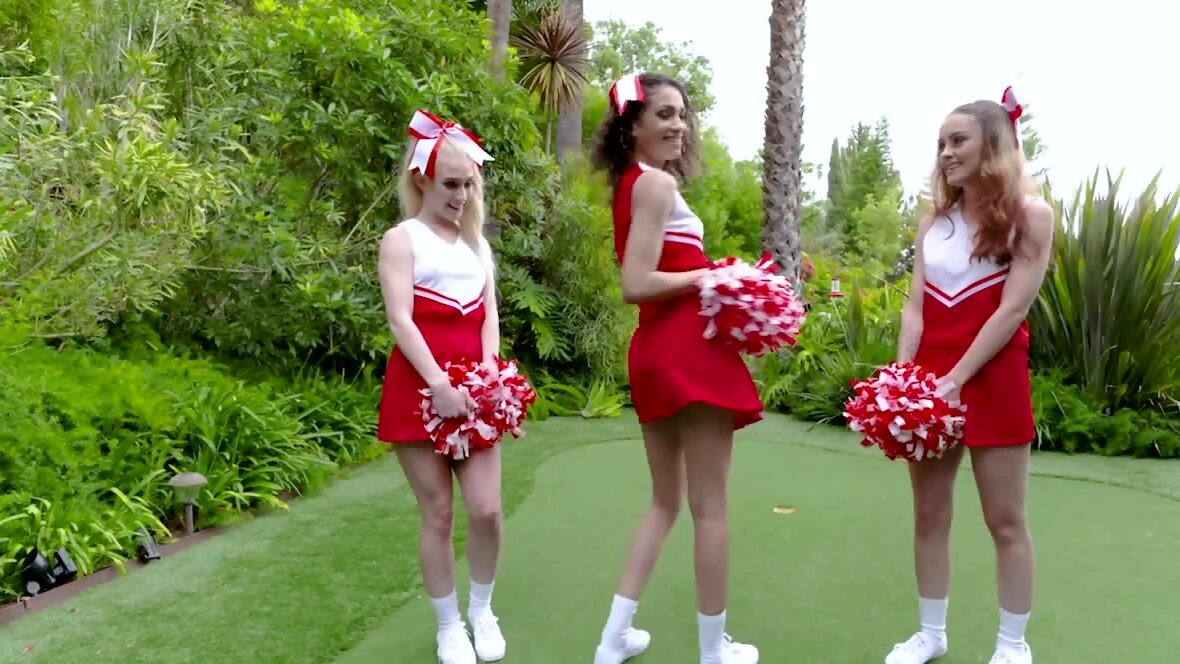 Lucky coach seduced by three young and naughty cheerleaders