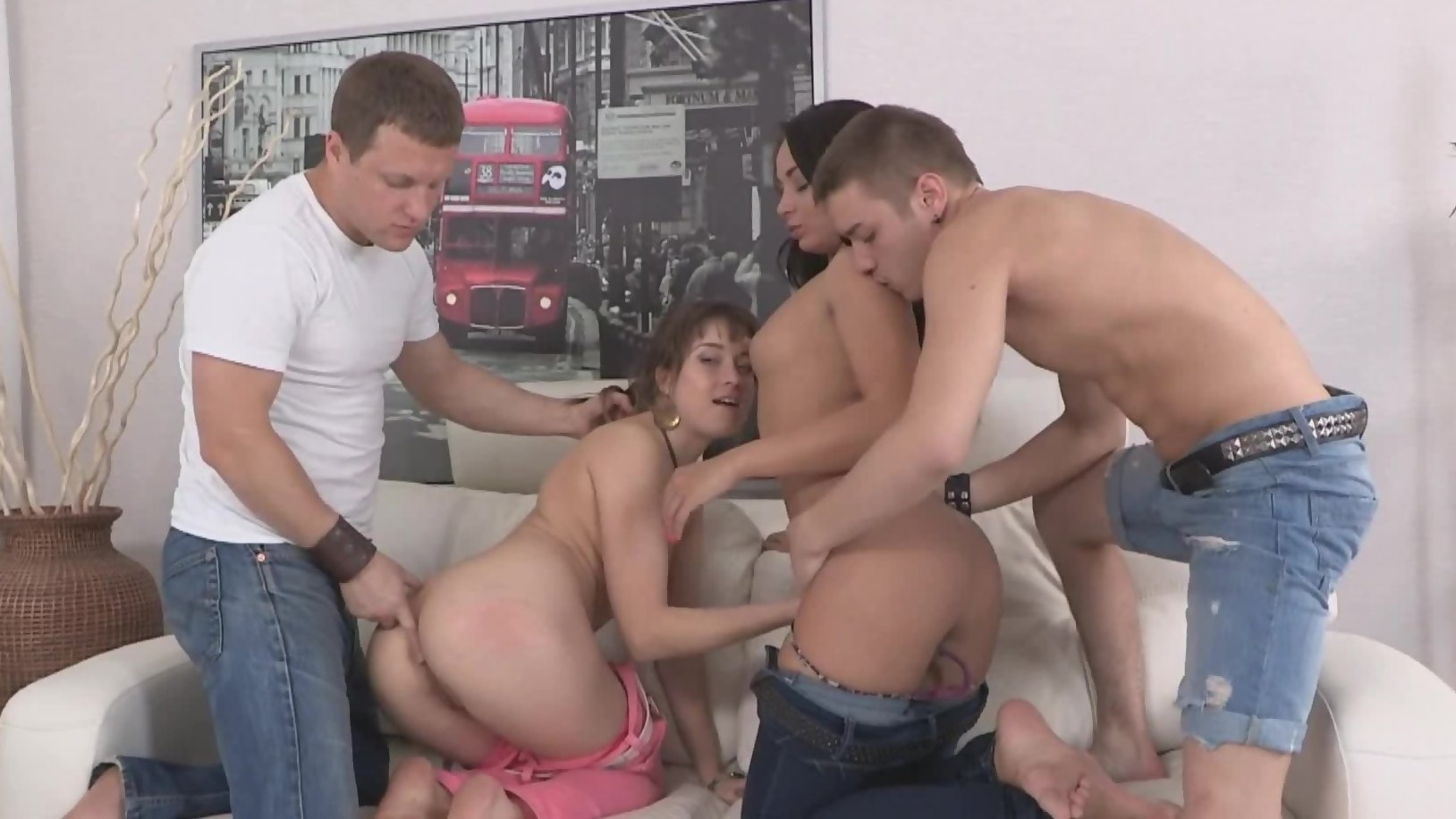 Tanned brunette from Russia and winsome friend try fourso...